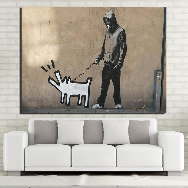 keith haring dog by banksy canvas print wall art