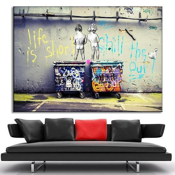 BANKSY I AM OUT OF BED WALL ART PAINT PRINT ON FRAMED CANVAS HOME DECORATION