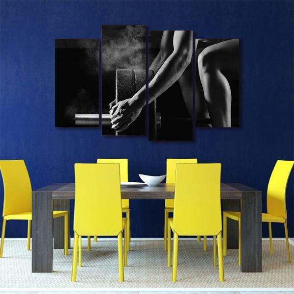 Barbell Lifting Fitness 4 Panels Canvas Wall Art Dining Room