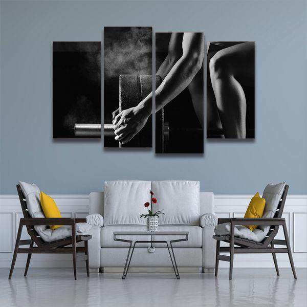 Barbell Lifting Fitness 4 Panels Canvas Wall Art Living Room