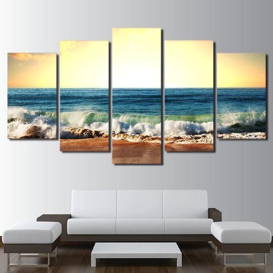 Cool Foamy Beach Waves Canvas Wall Art Home Decor