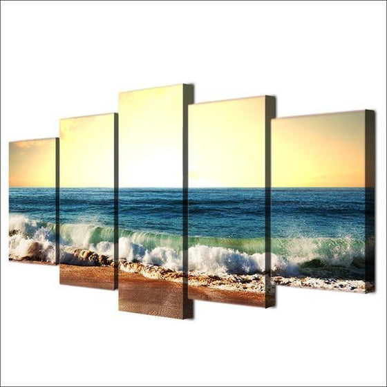 Cool Foamy Beach Waves Canvas Wall Art Prints