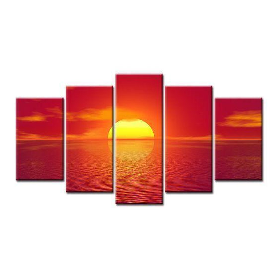 Beach Red Sunset Canvas Wall Art