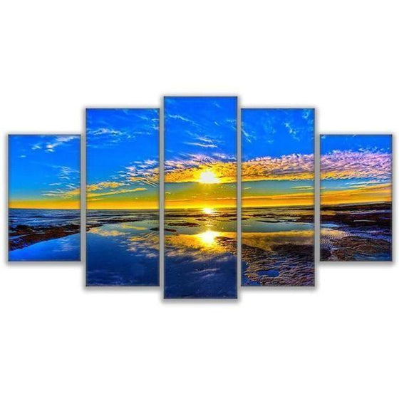 Beach Landscape & Sunset View Canvas Wall Art