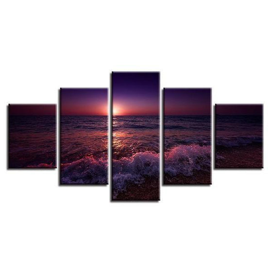 Beach Violet Sunset Canvas Wall Art