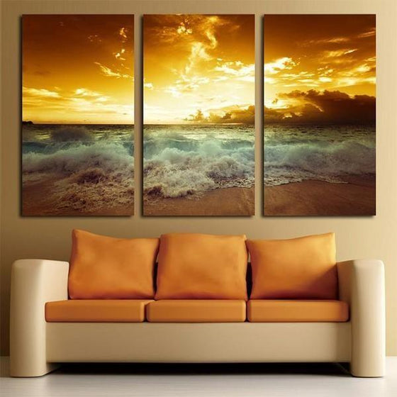 Beach Waves With Sunset Canvas Wall Art Decor