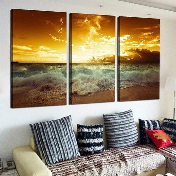Beach Waves With Sunset Canvas Wall Art Print