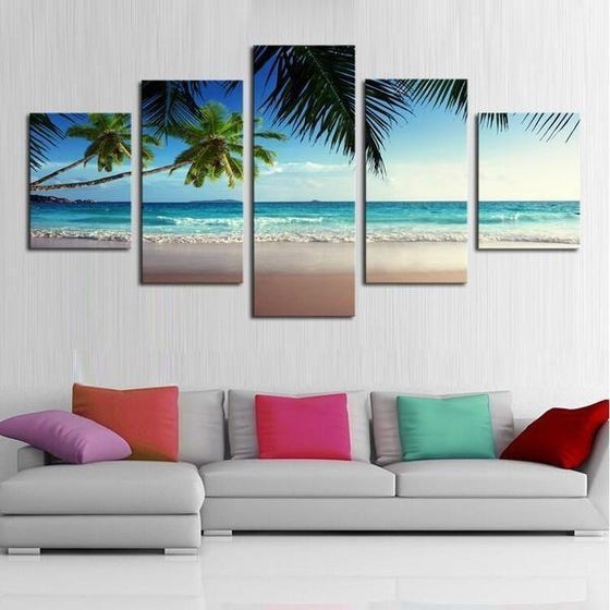 Coconut Trees At The Beach Canvas Wall Art Home Decor