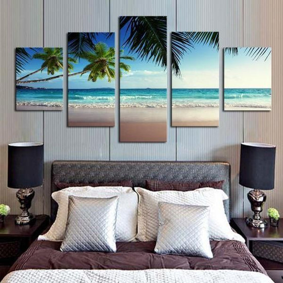 Coconut Trees At The Beach Canvas Wall Art Bedroom