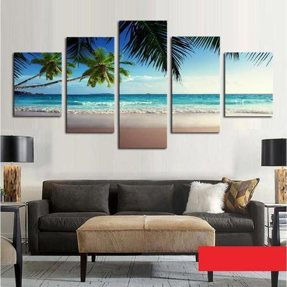 Coconut Trees At The Beach Canvas Wall Art Living Room