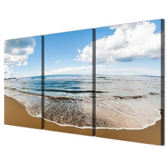 Wide Beach And Blue Sky Canvas Wall Art Print