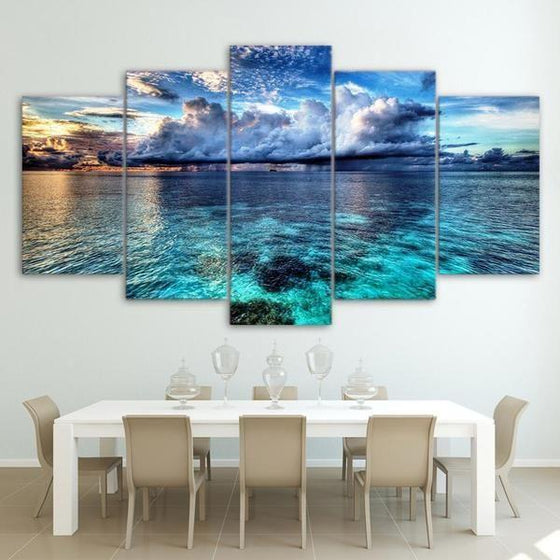 Cloudy Beach Landscape Canvas Wall Art Dining Room