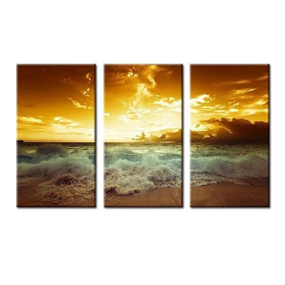 Beach Waves With Sunset Canvas Wall Art