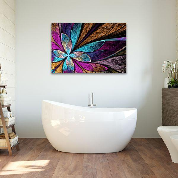 Beautiful Fractal Flower Canvas Wall Art Bathroom