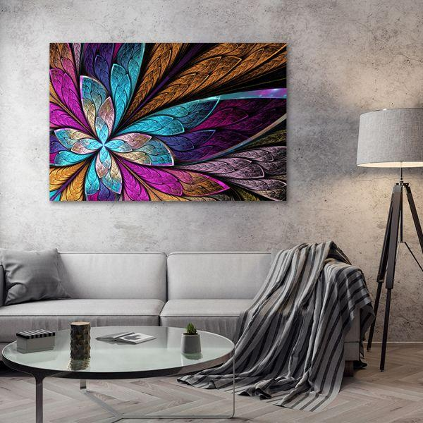 Beautiful Fractal Flower Canvas Wall Art Living Room