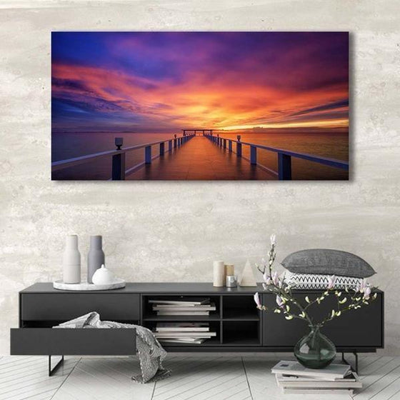 Best Bridge Sunset View Wall Art Canvas