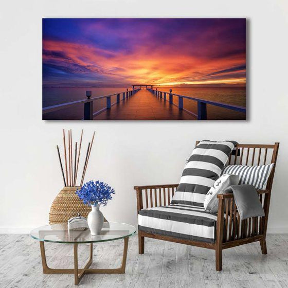 Best Bridge Sunset View Wall Art Living Room