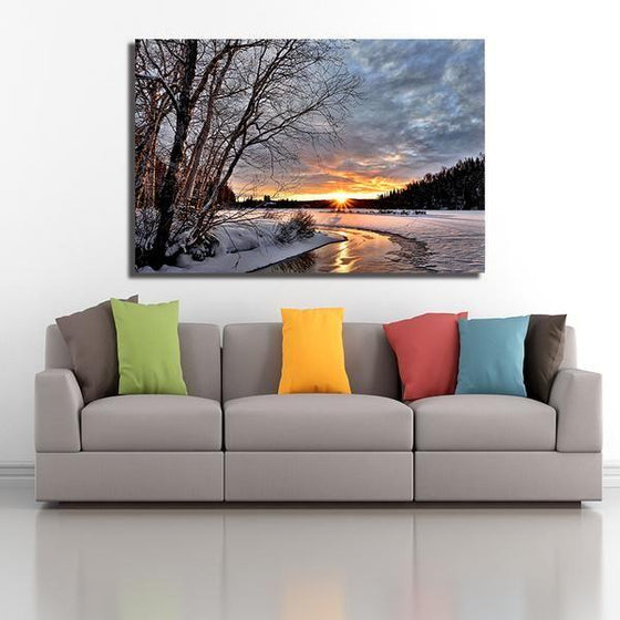 Best Snowy Sunset Wall Art Decor
