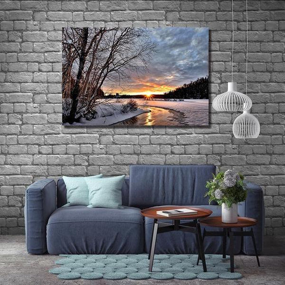 Best Snowy Sunset Wall Art Living Room