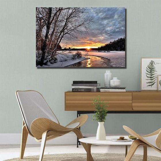 Best Snowy Sunset Wall Art Print