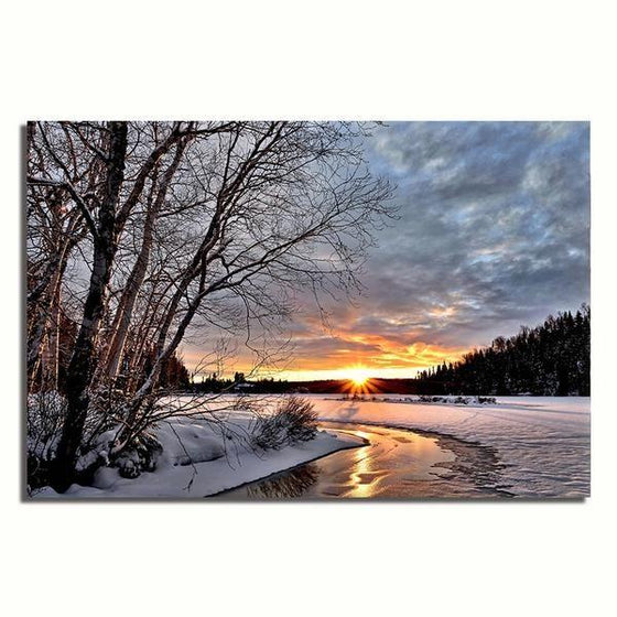 Best Snowy Sunset Wall Art