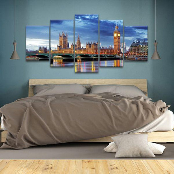 Big Ben & Westminster 5 Panels Canvas Wall Art