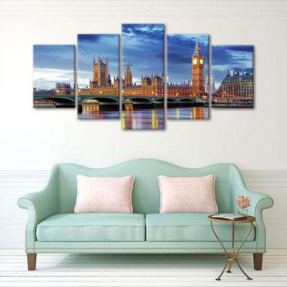 Big Ben & Westminster 5 Panels Canvas Wall Art Decor