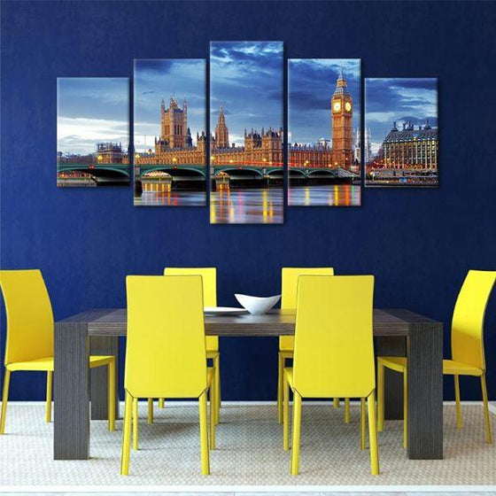 Big Ben & Westminster 5 Panels Canvas Wall Art Dining Room