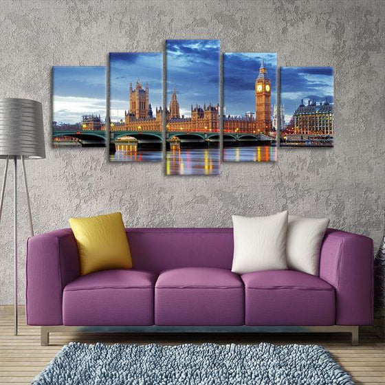 Big Ben & Westminster 5 Panels Canvas Wall Art Living Room