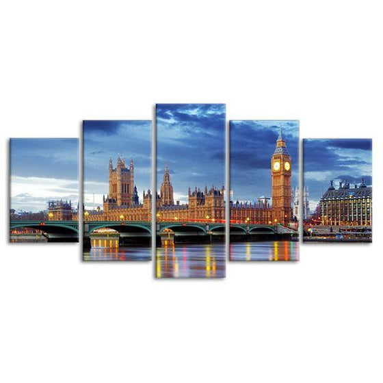 Big Ben & Westminster 5 Panels Canvas Art