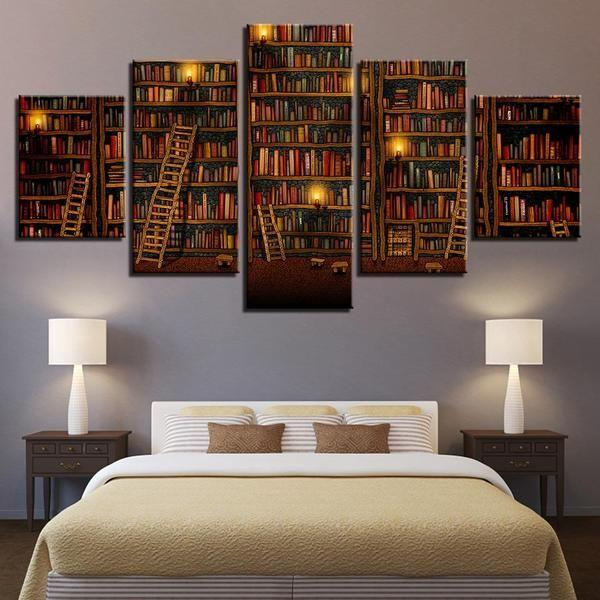 Fantasy Study Library Book Canvas Wall Art — canvasx.net