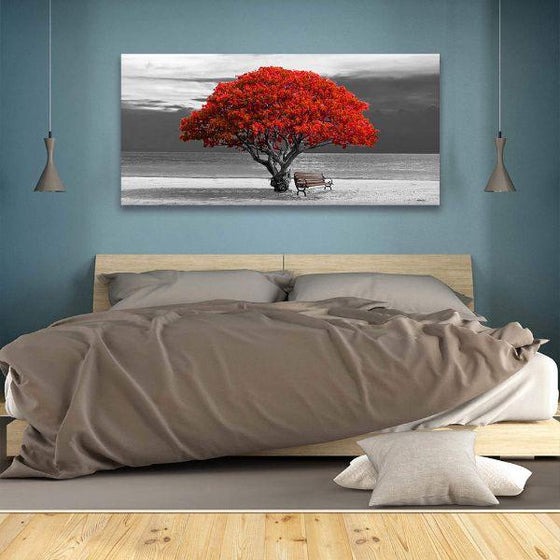 Big Old Red Tree Canvas Wall Art Bedroom