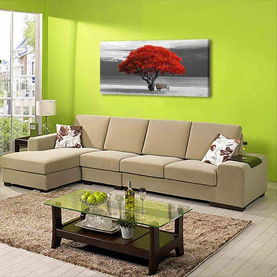 Big Old Red Tree Canvas Wall Art Living Room