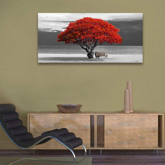 Big Old Red Tree Canvas Wall Art Office