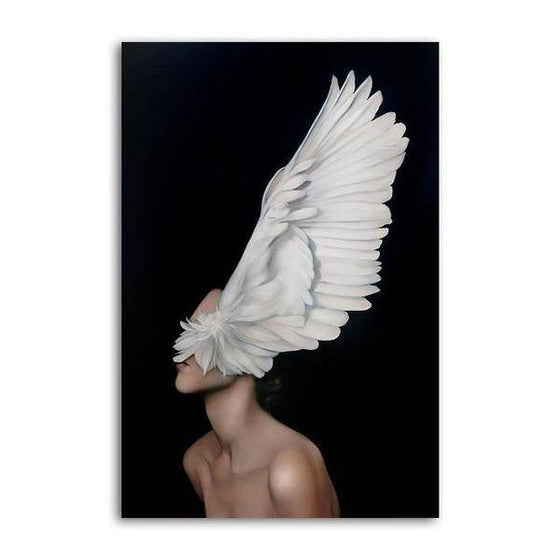 Big White Feathers Wall Art Canvas