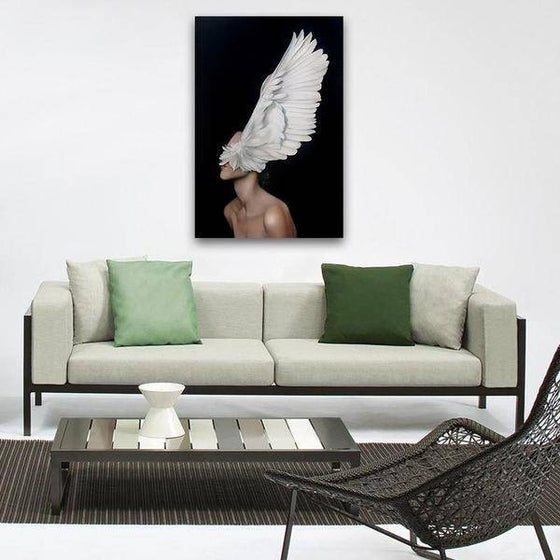 Big White Feathers Wall Art Living Room