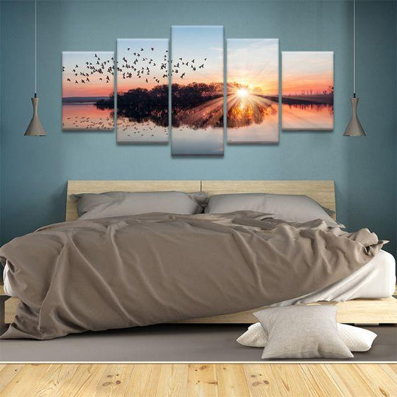 Birds Flying At Sunset 5 Panels Canvas Wall Art Bedroom