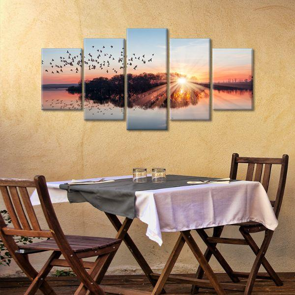 Birds Flying At Sunset 5 Panels Canvas Wall Art Dining Room