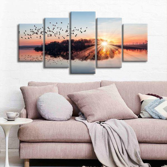 Birds Flying At Sunset 5 Panels Canvas Wall Art Living Room
