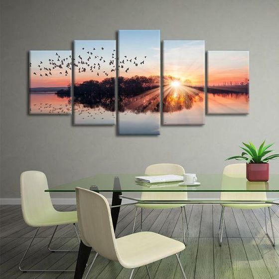 Birds Flying At Sunset 5 Panels Canvas Wall Art Office