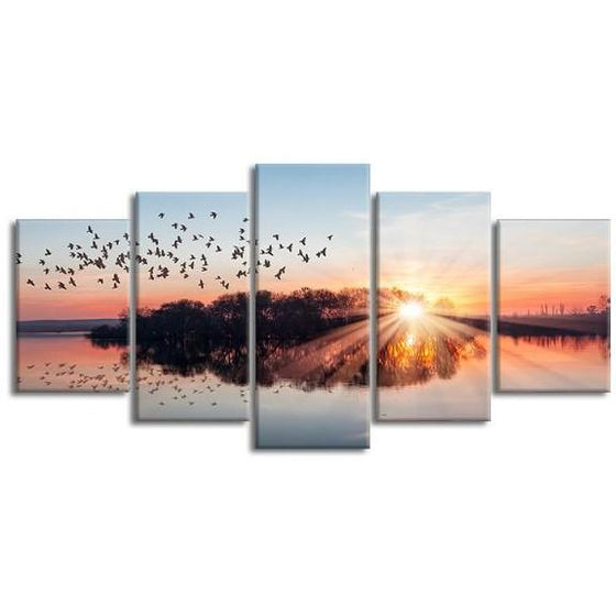 Birds Flying At Sunset 5 Panels Canvas Wall Art