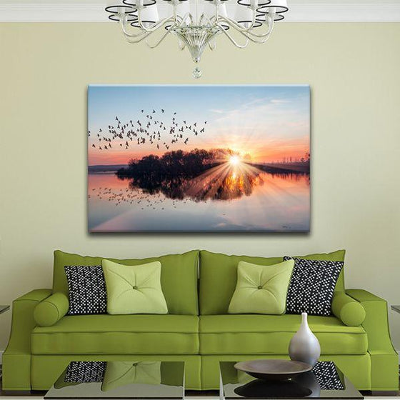 Birds Flying At Sunset Canvas Wall Art Decor