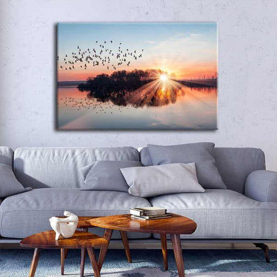 Birds Flying At Sunset Canvas Wall Art Living Room