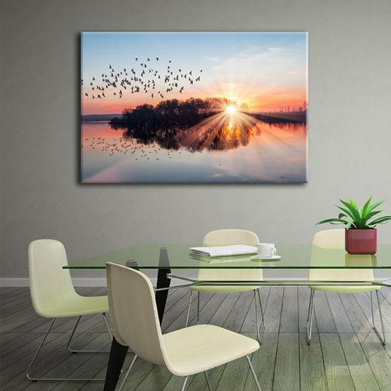 Birds Flying At Sunset Canvas Wall Art Office