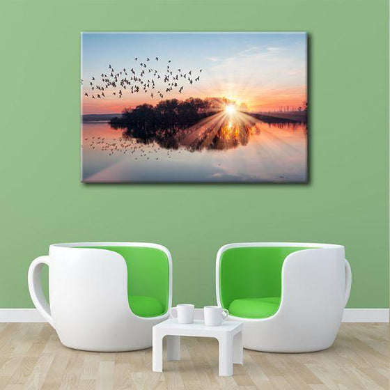 Birds Flying At Sunset Canvas Wall Art Print