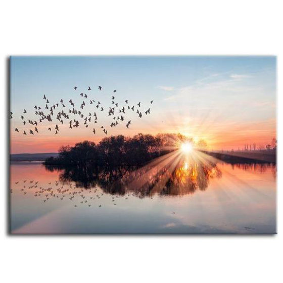 Birds Flying At Sunset Canvas Wall Art