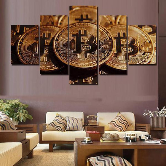 Bitcoins Canvas Wall Art Living Room