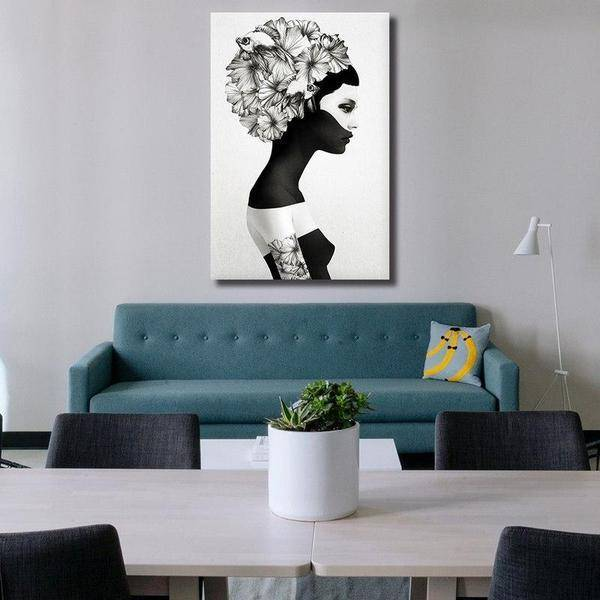Black And White Contemporary Canvas Wall Art | Figurative Print ...