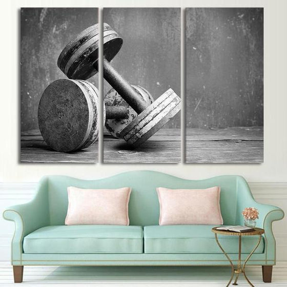 Fitness Equipment Dumbells Canvas Wall Art Decor