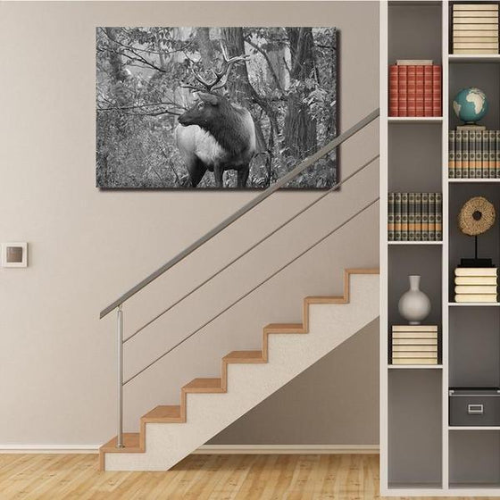 Black And White Elk Canvas Wall Art Decor